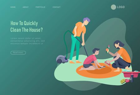 landing page template people home cleaning, washing dishes, fold clothes, cleaning window, carpet and floor, wipe dust, water flower. Vector illustration cartoon style Illustration