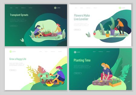 landing page template with happy Harvesting tips and gardening people doing farming job, grow garden, watering, planting, growing and transplant sprouts, lay vegetables. Cartoon character illustration Foto de archivo - 128149725