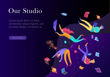 landing page template. Inspired People flying. Create your own spase. Character moving and floating in dreams, imagination and freedom inspiration design work. Flat design style Imagens - 128149834