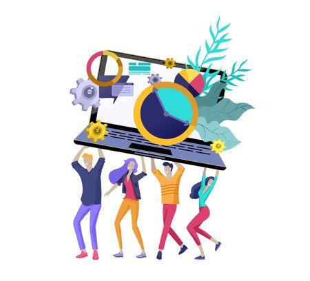 Equipo de personas en movimiento. Invitación de negocios y fiesta corporativa, cursos de formación en diseño, quiénes somos, equipo experto, feliz trabajo en equipo. Ilustración de diseño de personajes planos Ilustración de vector