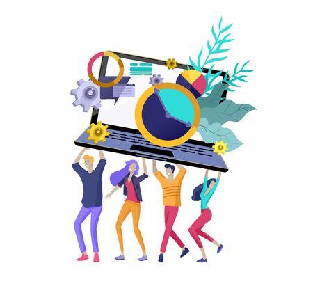 Team People moving. Business invitation and corporate party, design training courses, about us, expert team, happy teamwork. Flat characters design illustration Vetores