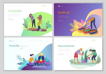 landing page template with happy Harvesting tips and gardening people doing farming job, grow garden, watering, planting, growing and transplant sprouts, lay vegetables. Cartoon character illustration Foto de archivo - 128149835
