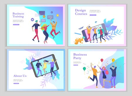 landing page templates set with team People moving. Business invitation and corporate party, design training courses, about us, expert team, happy teamwork. Flat characters design illustration