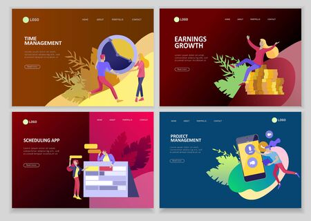 Landing page template, office concept business people for project management, business, workflow and consulting. Modern vector illustration flat concepts character for website and mobile website development.