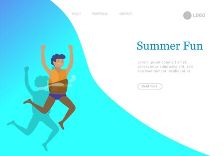 landing page set with children in sea, pool or ocean performing activities, swimming in swimwear, diving, playing ball.