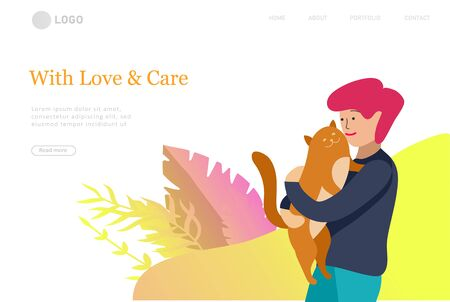 Landing page set of children with pets, cats and dog. Happy, funny kids playing, love and taking care of kittens, pet animals in flat cartoon style. Ilustracja