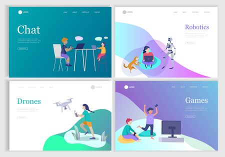 Set of landing page with Happy school children performing various activities or hobbies, playing games on computer or console, programming, launching drone, wearing VR headset