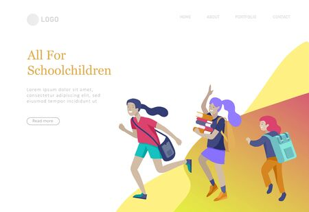 Landing page template with Happy school children joyfully jumping and laughing. Concept of happiness, gladness and fun. Vector illustration for banner, poster, website, invitation.