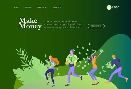 Landing page template Happy people with money, characters in move make money. Business investment, money rain, men and woman run with profit, catch bills. Cartoon style, flat vector illustration
