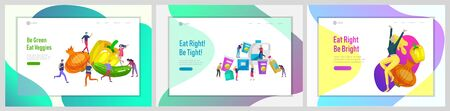Landing page template with Happy People with healthy food, jumping and dansing. Veggie recipe, healthy diet and detox concept, eco friendly lifestyle. Colorful illustration Stok Fotoğraf - 130839995