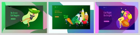 Landing page template with Happy People with healthy food, jumping and dansing. Veggie recipe, healthy diet and detox concept, eco friendly lifestyle. Colorful illustration