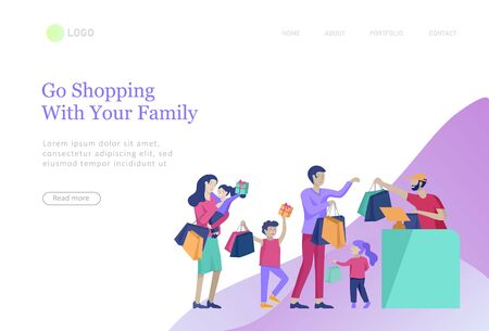 landing pages set with Collection of family hobby activities. Mother, father and children spend time together. Cartoon vector illustration