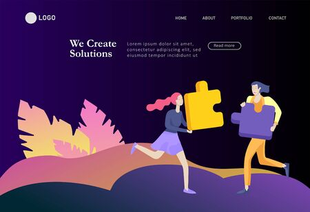 Landing page templates. Vector character business people with infographic of puzzle have solution. Goal thinking. Cooperation by group to create a team. Concept for web design Colorful flat concept illustration. Reklamní fotografie - 130840014