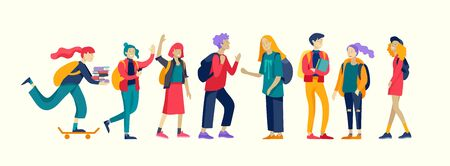 Happy teenagers and students. Group of friends character are laughing and talking. Stylish smiling boys and girls. Young generation pupils or millennials. Colorful cartoon concept vector illustration Ilustracja