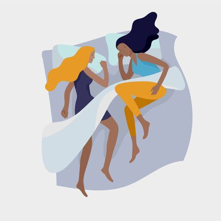 Sleeping girls character. woman are sleep in bed together in various poses, different postures during night slumber. Top view. Colorful vector illustration