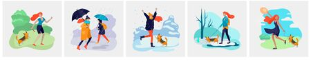 Young woman with her dog in various weather conditions. Girl in seasonal clothes and enjoys walking on street in rain, snowfall, summer heat. Colorful vector cartoon illustration