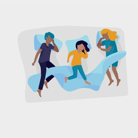 Sleeping children character. Boy and girl sleep in bed together and alone in various poses, different postures during night slumber. Top view. Colorful vector illustration