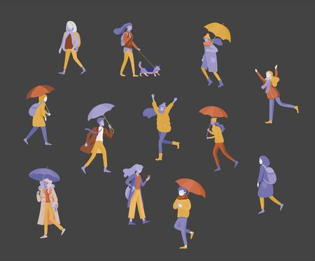 Various stylish people character go on street under umbrellas in warm clothes. Autumn rainy weather. Colored trendy cartoon vector illustration