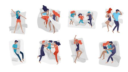 Collection of sleeping people character. Family with child are sleep in bed together and alone in various poses, different postures during night slumber. Top view. Colorful vector illustration