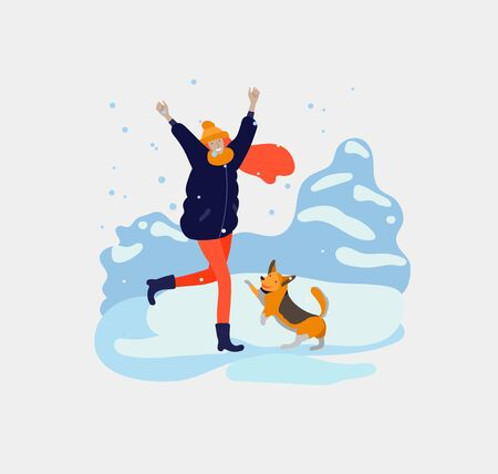 Various stylish happy girl and her dog character go on street in warm clothes. Winter snowfall weather. Happy New Year. Colored trendy cartoon vector illustration Ilustracja