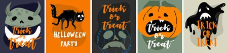 Halloween backgrounds collection. Helloween greeting card and poster, party sign. Concept illustration with Sign and symbol. Flat design cartoon. Traditional design Ilustracja