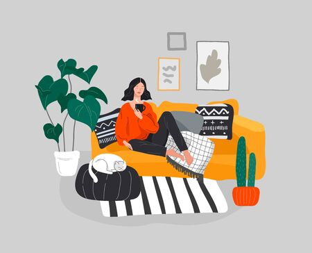 Girl girl sitting and resting on the couch with a cat and coffee. Daily life and everyday routine scene by young woman in scandinavian style cozy interior with houseplants. Cartoon vector illustration. Ilustrace