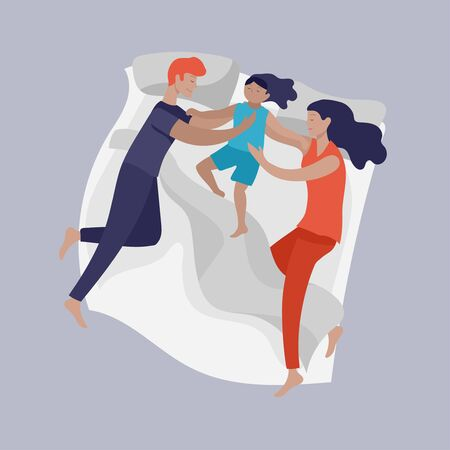 Sleeping people character. Family with child are sleep in bed together and alone in various poses, different postures during night slumber. Top view. Colorful vector illustration