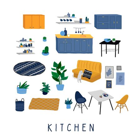 Set for kitchen or dining room with stylish comfy furniture and modern home decorations in trendy Scandinavian or hygge style. Cozy Interior furnished home plants. Flat cartoon vector illustration  イラスト・ベクター素材