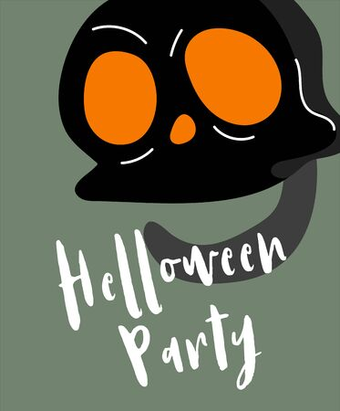 Halloween background. Helloween greeting card or poster, party sign. Concept illustration with Sign and symbol. Flat design cartoon. Traditional design