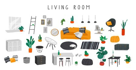 Stylish comfy furniture and modern home decorations bundle in trendy Scandinavian or hygge style. Cozy Interior living rooms or apartments furnished home plants. Flat cartoon vector illustration Banque d'images - 132686461