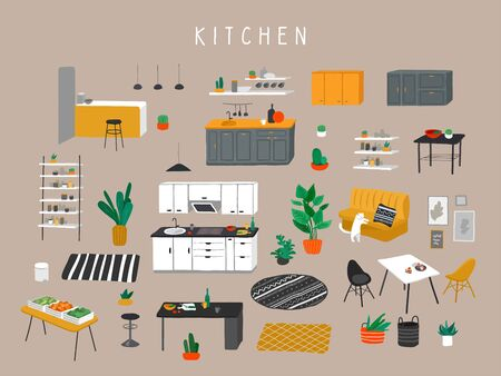 Set for kitchen or dining room with stylish comfy furniture and modern home decorations in trendy Scandinavian or hygge style. Cozy Interior furnished home plants. Flat cartoon vector illustration Иллюстрация