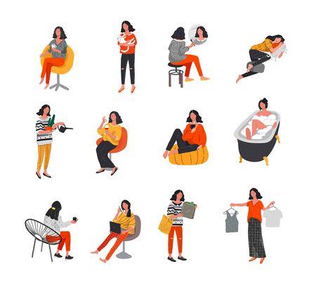 Set von schönen Mädchen in Szenen des täglichen Lebens. Junge Frau einkaufen, schminken, schlafen, entspannen, baden, Kleidung auswählen, mit der Katze spielen, arbeiten, Blumen gießen. Flache Cartoon-Vektor-Illustration Vektorgrafik