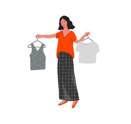 Beautiful girl in daily life scene. Young woman shopping and chooses clothes Flat cartoon vector illustration