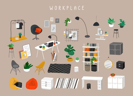 Set for workplace or home office with stylish comfy furniture and modern home decorations in trendy Scandinavian or hygge style. Cozy Interior furnished home plants. Flat cartoon vector illustration