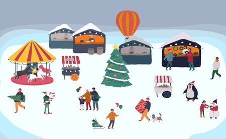 Christmas holiday outdoor fair or street market on town square invitation card. Merchants and customers cartoon characters people walking between decorated stalls or kiosks. Holiday New year shopping