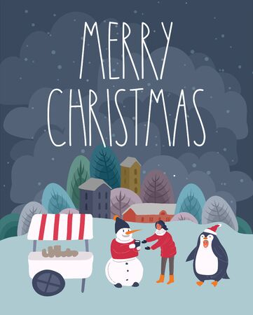 Christmas holiday outdoor fair or street with Santa, penguin and snowman which give cacao to girl . New Year greeting cards with snowy cityscape. Landscape with typography. Vector cartoon illustration