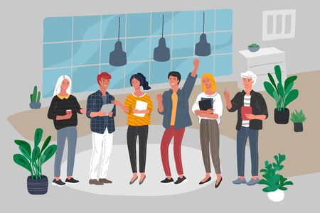 Office or coworking interior workers communicating. Group of young trendy people take brake at work or teamwork meeting. Startup company at workplace. Vector cartoon concept