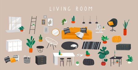 Stylish comfy furniture and modern home decorations bundle in trendy Scandinavian or hygge style. Cozy Interior living rooms or apartments furnished home plants. Flat cartoon vector illustration