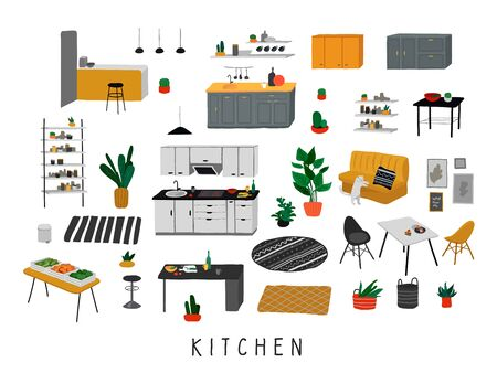 Set for kitchen or dining room with stylish comfy furniture and modern home decorations in trendy Scandinavian or hygge style. Cozy Interior furnished home plants. Flat cartoon vector illustration Banque d'images - 133228172