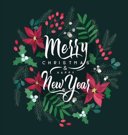 Merry Christmas and New Year greeting card with lettering wish. Frame or border with berries, poinsettia leaves, branches and cones of trees, hand drawn on black background. Floral vector illustration