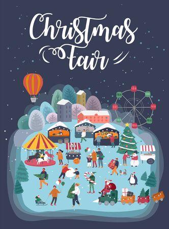 Weihnachtsfeier im Freien oder Straßenmarkt auf Stadtplatz-Einladungskarte. Händler und Kunden Zeichentrickfiguren Menschen gehen zwischen dekorierten Ständen oder Kiosken. Feiertags-Neujahr-Shopping Vektorgrafik