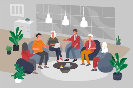 Office interior with group workers sitting and have teamwork meeting or brainstorming. Successful team gathering. Group of young people, startup company at workplace. Vector cartoon concept