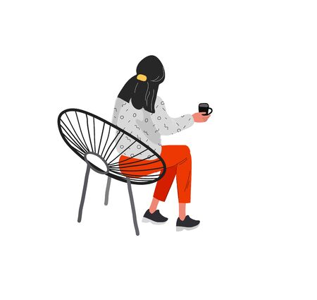 Beautiful girl in daily life scene. Young woman resting in armchair or ottoman and drinking coffee or wine . Flat cartoon vector illustration