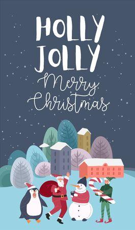 Foire ou rue en plein air de vacances de Noël avec le père Noël, l'elfe, le pingouin et le bonhomme de neige. Cartes de voeux de nouvel an avec paysage urbain enneigé avec. Paysage d'hiver avec typographie festive. Illustration de dessin animé de vecteur