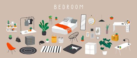 Set for badroom with stylish comfy furniture and modern home decorations in trendy Scandinavian or hygge style. Cozy Interior furnished home plants for sleeping. Flat cartoon vector illustration Ilustracje wektorowe
