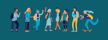 Happy teenagers and students. Group of friends character are laughing and talking. Stylish smiling boys and girls. Young generation pupils or millennials. Colorful cartoon concept vector illustration Ilustrace
