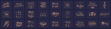 Buon Natale e felice anno nuovo con composizioni tipografiche scritte per il poster e il biglietto di auguri. Calligrafia per le vacanze invernali. Illustrazione vettoriale Vettoriali