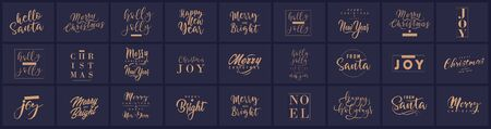 Merry Christmas and happy New Year set with lettering typographic compositions for the poster and greeting card. Calligraphy for winter holiday. Vector illustration