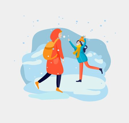 Various stylish people character go on street in warm clothes. Winter snowfall weather. Happy New Year. Colored trendy cartoon vector illustration 向量圖像