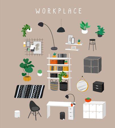 Set für Arbeitsplatz oder Home Office mit stylischen bequemen Möbeln und moderner Wohndekoration im trendigen skandinavischen oder Hygge-Stil. Gemütliches Interieur eingerichtete Hauspflanzen. Flache Cartoon-Vektor-Illustration Vektorgrafik